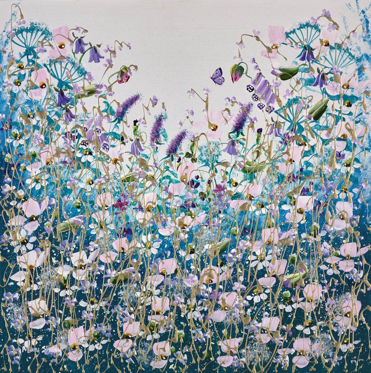 Pink Flowers II by mary shaw -  sized 16x16 inches. Available from Whitewall Galleries